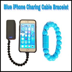 Jewelry - Blue Beads Charging Cable Bracelet for iPhone